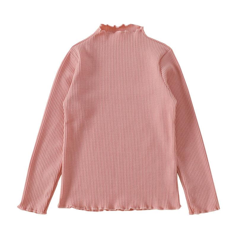 女童打底衫童装长袖中大童纯色儿童上衣T恤衫 粉色 110cm