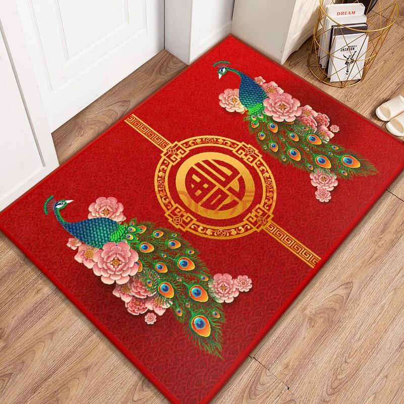 美又好 中式地毯中国风大红色福字新年地毯结婚入户门口客厅喜庆婚庆小地毯吸水防滑耐磨可机洗金钻绒 F08-2 40*60cm
