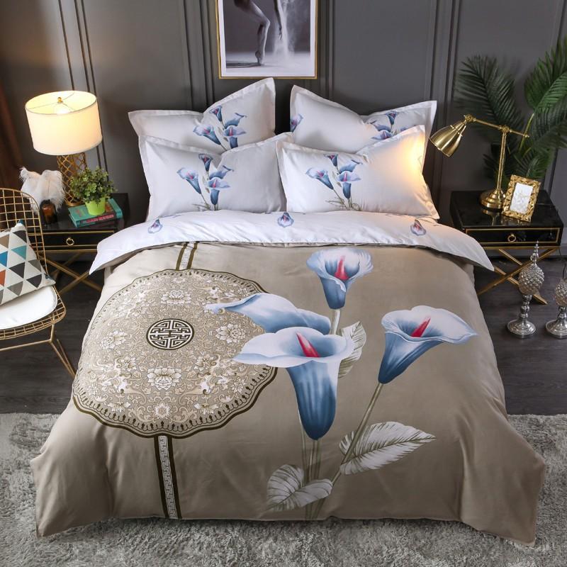 瑞辰 大版花四件套加厚植物羊绒大版印花套件简约床上用品床单被套学生三件套双人四件套 DA-松花洛 1.5米床用